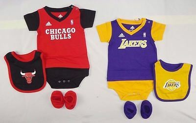 Adidas Baby Boys set NBA Lakers Chicago Bodysuit, Bib & Bootie szs 18,24 months