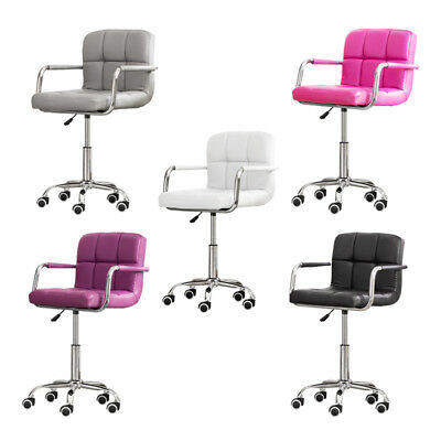 Pair of PU Leather Office Chair Computer Desk Swivel Gas Lift Adjustable Chrome