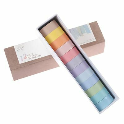 12 Colors Washi Tape Set Adhesive Decoration Masking Stickers Diary Album School