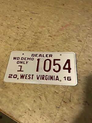 West Virginia Dealer License Plate 2016