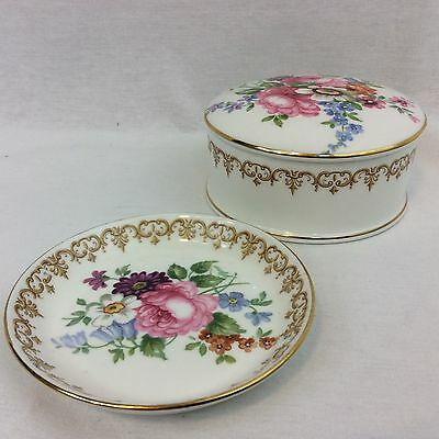 Crown Staffordshire Fine Bone China Trinket Box & Numbered Dish Floral JT Jones