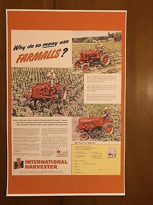 Vintage Reproduction Farmall International Harvester Tractor Poster Man Cave
