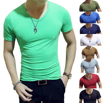 Sport T-shirt Slim Men Crew Neck Cotton Fit Short Sleeve Solid Casual Tee Top AI