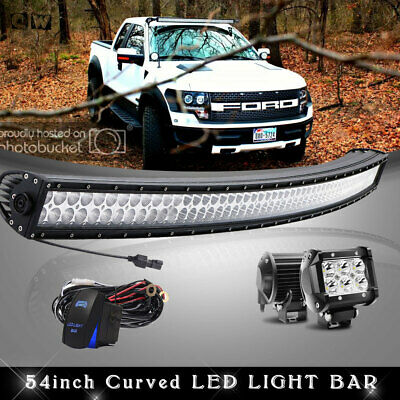 "54Inch Curved LED Light Bar Combo + 4"" PODS Lamps OFFROAD for Ford SUV 4WD 52''"