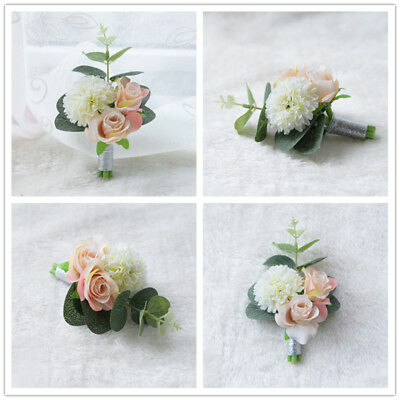 Wrist Corsage Groom Prom Wedding Boutonniere Bridesmaid Flower Party Decoration
