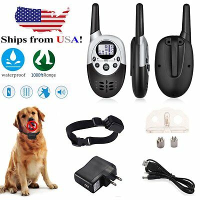1000 Yard Shock Vibrate Remote Training Collar Waterproof Large Med Small Dog KZ