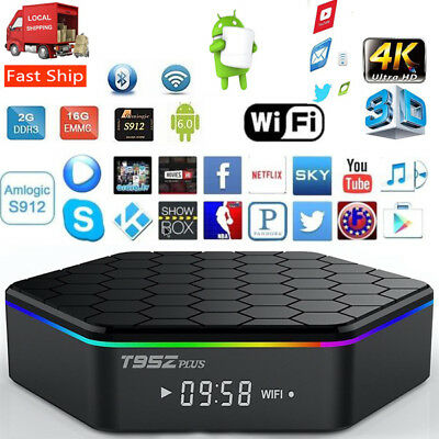T95Z Plus Smart TV Box Media Streamer S912 8-core Android 6.0 2G+16G CA Seller