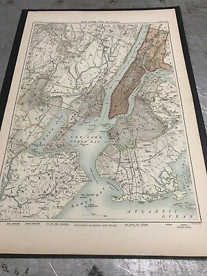 Antique Map of New York and Vicinity- 1898