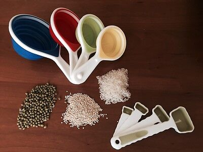 White Silicone Collapsible Measuring Cups And Spoons Set