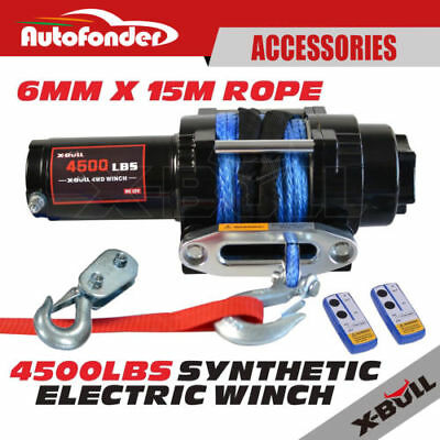 4500LBS/2041kg 15M 12V Electric Winch Synthetic Rope 2 Remote Wireless ATV