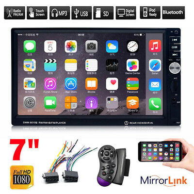 """7"""" Dash Double 2-Din Bluetooth Car Stereo MP5 Player Touch FM/AUX Mirror Link"""