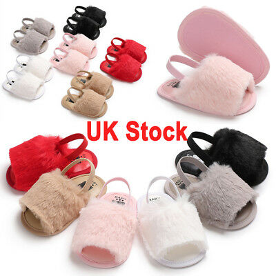 New Toddler Baby Girl Kid Soft Sole Sandal Plush Slide Anti-slip Pram Crib Shoes