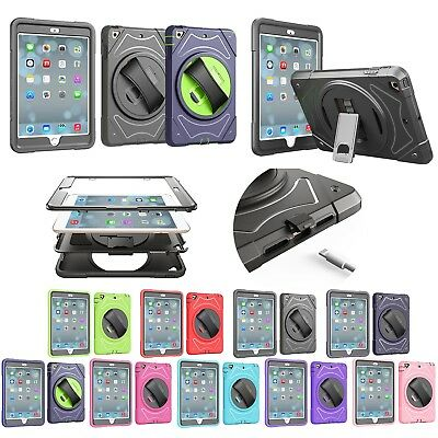 360° Rotary Shockproof PC Stand Back Cover Case+Hand Strap for Apple iPad 2/3/4
