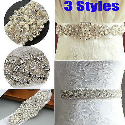 Pearl Crystal Bridal Belt Dress Sash Wedding Party Diamante Beaded Rhinestone UK
