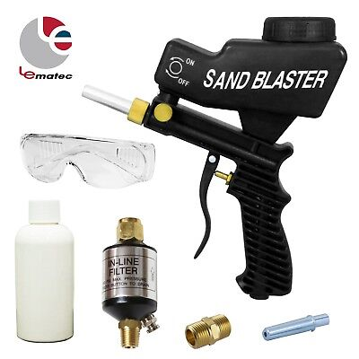 LEMATEC Gravity Feed Sandblaster Gun With Sand Canned Nozzle Tips Black Air Tool