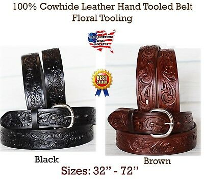 33-34 HANDMADE Floral TOOLED HEAVY DUTY WESTERN LEATHER BELT Black 2616RS01
