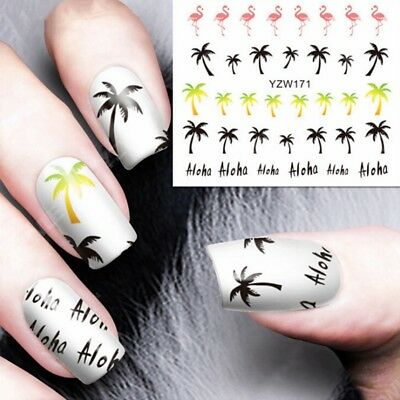 3 Sheets Nail Art Water Decals Transfers Stickers Summer Palm Trees Cartoon DIY