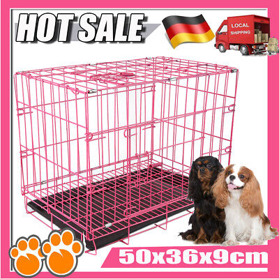 NEU Hundetransportbox Hundekäfig Transportkäfig Transportbox Käfig Kennel Pink