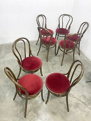 1of8 VINTAGE 40s 50s 60s THONET STYLE BISTRO CAFE DINING CHAIRS UPHOLSTERED SEAT