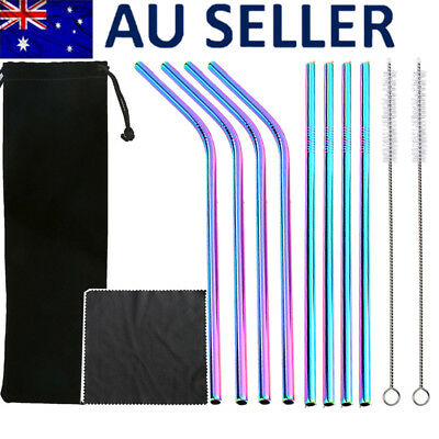 8x Eco Reusable Stainless Steel Straws metal Drinking Straw +2 Brush + Bag Cloth