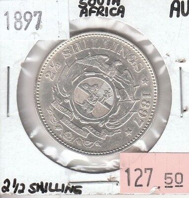 South Africa 2 1/2 Shillings 1897 AU Almost Uncirculated