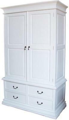 White Solid Mahogany Double Wardrobe 2 Doors 4 Drawers Antique Reproduction