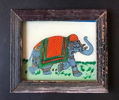 Vintage Indian Elephant Reverse Glass Painting Miniature Gold Green Orange Black