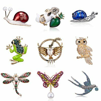 New Fashion Crystal Pearl Animal Dragonfly Butterfly Bird Brooch Pin Jewellery
