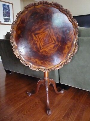 Antique-flame-Mahogany-Chippendale-Pie-Crust-carved-Tilt-Top-Ball-amp MAKE/OFFER