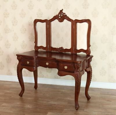 Antique Wax Mahogany Reproduction Victorian Dressing Table + Mirror