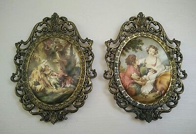 Vintage silk pictures in brass frame made in Italy, small