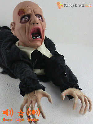 Animated Crawling  Zombie Prop Light Up Sound Moving Halloween Party Decoration