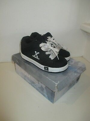 Boys Sidewalk Sports Skate Shoes with 2 Removable Wheels - Black/White - Size 1