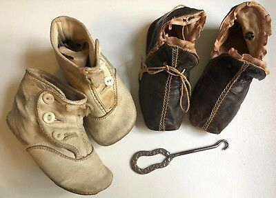Vintage Antique Victorian Baby White Brown Mauve Shoes Booties Boot Hook Lot