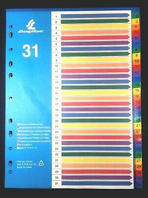 31 Part A4 Multicolored Board Tabbed Index Dividers filing for binder