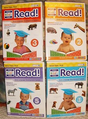BABY CAN READ volume 1 ~ 2 ~ 3 ~ 5 ~ DVD'S early language development system vgc