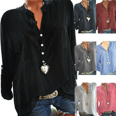 Casual Women Plus Size V-Neck Wave Point Printing Long Sleeves Tops Loose Blouse