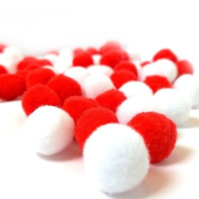 Craft Pom Poms 25mm Finest Quality Pompoms Red White or Mixed Pack of 10 to 100