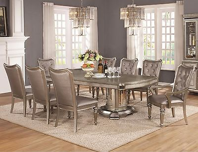 Glam Formal 9 Pc Metallic Platinum Wood Dining Table & Chairs Furniture Set
