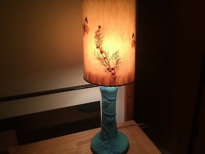 Vintage Original Van Briggle Pottery Grapes/Vines Table Lamp. Butterfly Shade