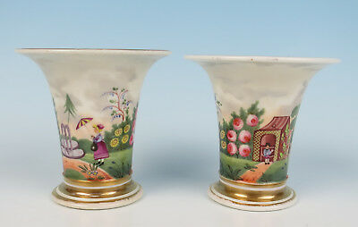 Unusual Pair Early 19th C. English or Welsh Porcelain Spill Vase Garden Antique