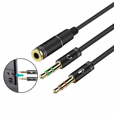 AUX 3.5mm Audio Mic Splitter Cable Female to 2 Male Headphone Microphone Adapter