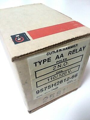 Cutler Hammer 9575H2612-66 Type AA Relay 2 Poles N.O. 110-120V Coil In Box NOS