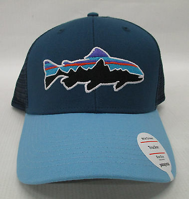 Patagonia Mens Fitz Roy Trout Trucker Snapback Cap Hat 38008 Glass Blue ee79c50d1ce8