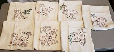 Vintage Unused Squirrel 7 Days Of The Week Embroidered Flour Sack Tea Towels