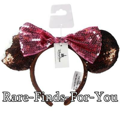 Disney Park Mickey Minnie Mouse Sequin Pink Bow Ears Ice Cream Headband NEW/TAGS