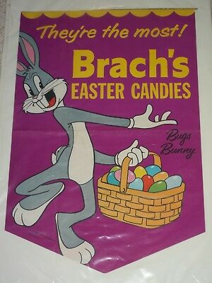 EARLY Bugs Bunny BRACH'S EASTER EGG CANDY SIGN Store Banner POSTER 1950 WARNER
