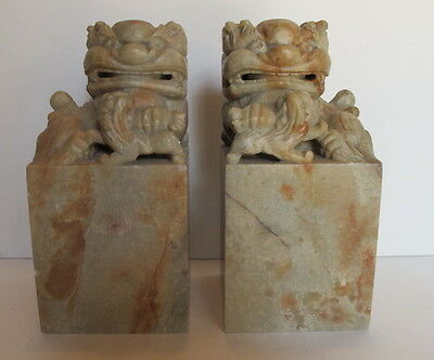 """Vintage Pair Chinese Carved Soapstone Foo Dogs Stamps Chops Seals Book Ends 6+"""""""
