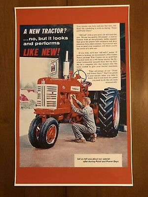 Vintage International Harvestor Tractor Advertisement Poster Man Cave Gift Decor