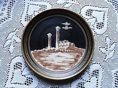 Vintage hand painted red clay pottery plate Greek Temple of Zeus Black & Gold 7""